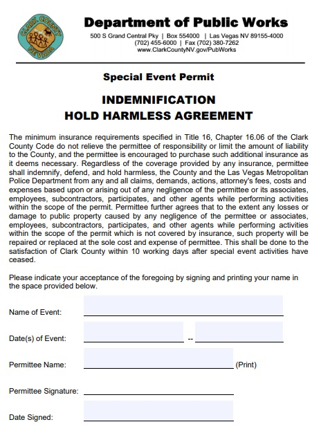 indemnification hold harmless agreement