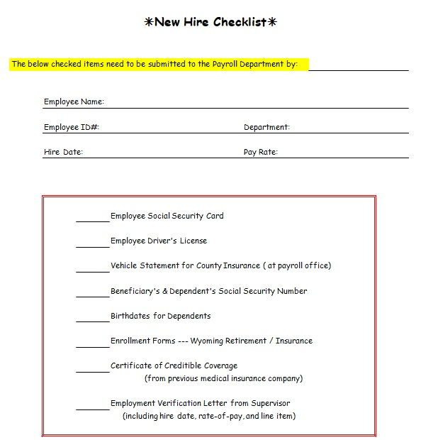 new employee orientation checklist doc