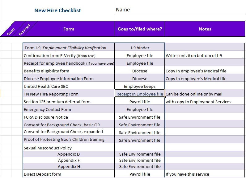 new hire checklist for non exempt employees