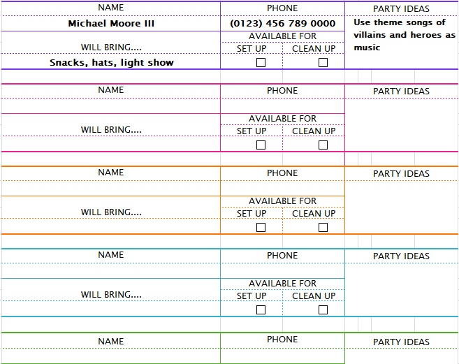party sign up sheet