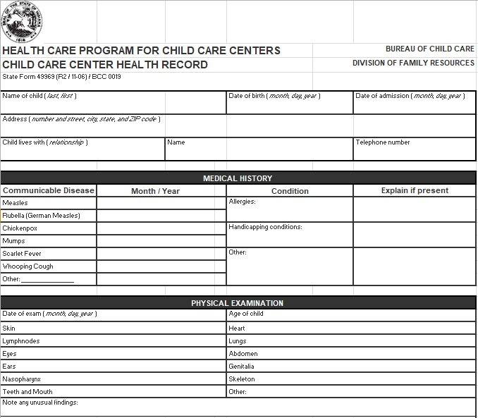 personal health records template