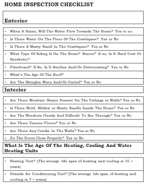 professional home inspection checklist template