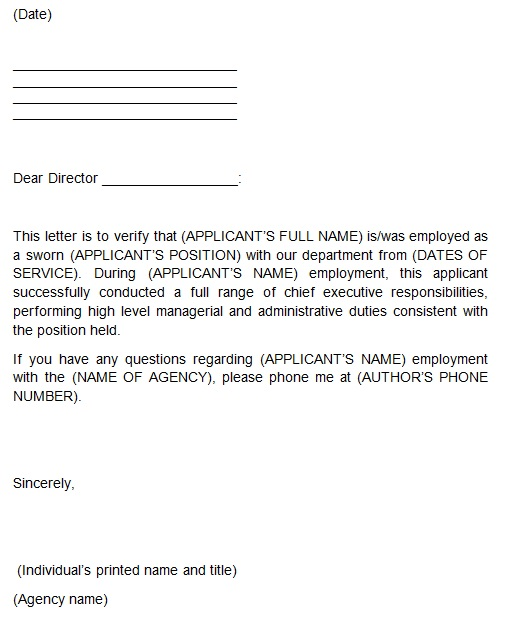 proof of employment letter form
