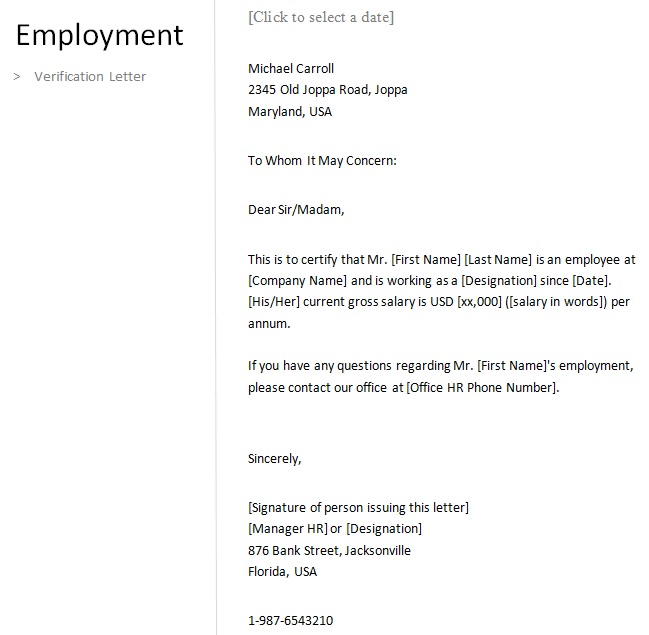 proof of employment letter free