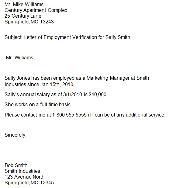 proof of employment letter template word