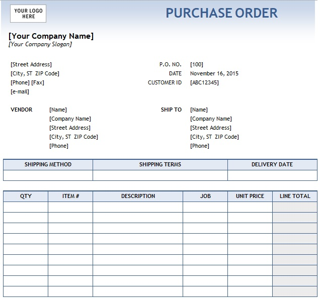 purchase order template free excel