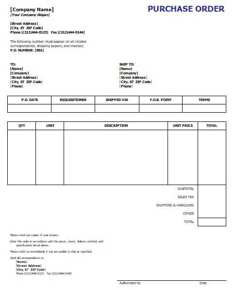 purchase order template word document