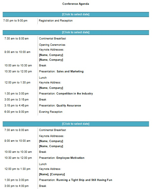 seminar conference schedule template