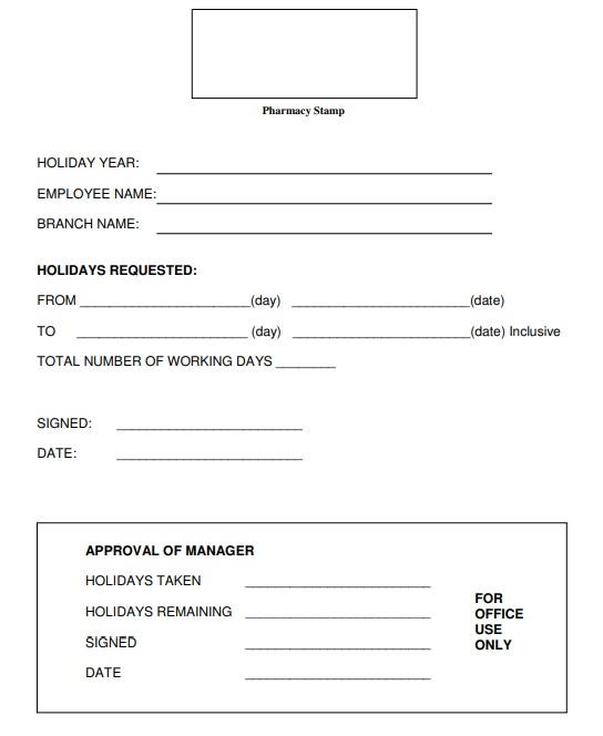 small business employee holiday request form