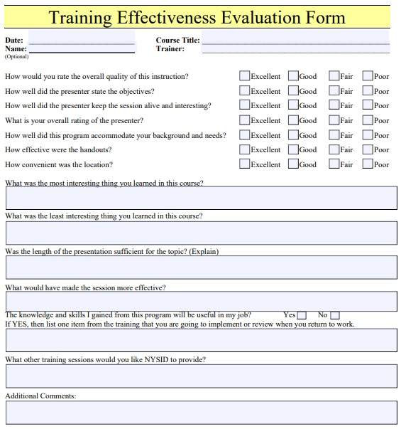 training effectiveness evaluation form