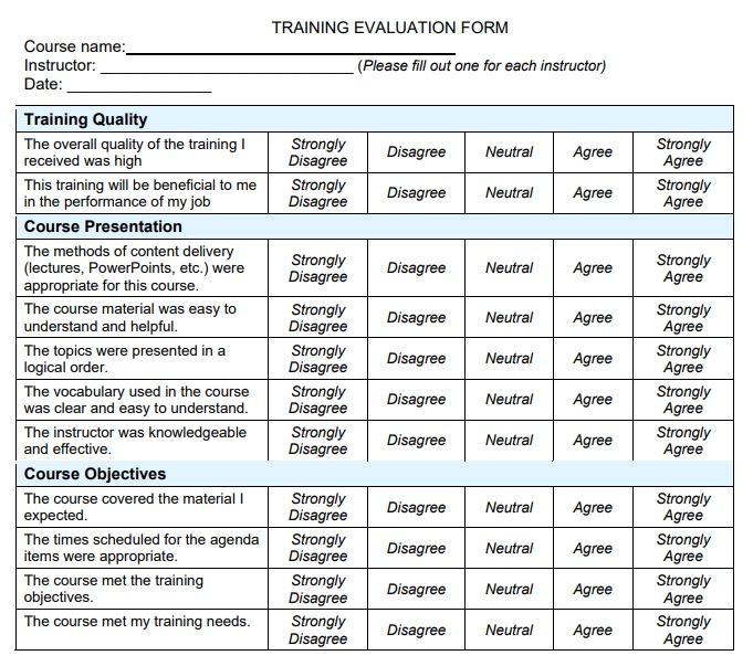 training evaluation format in Pdf