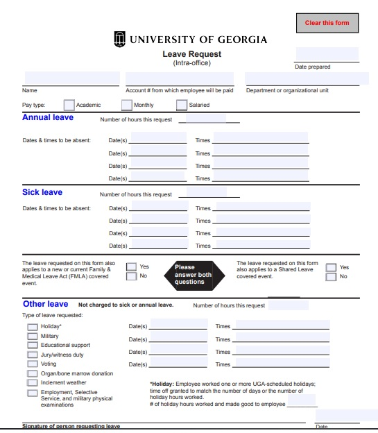 university of georgia leave request