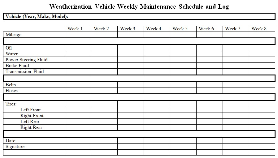weatherization vehicle weekly maintenance schedule and log