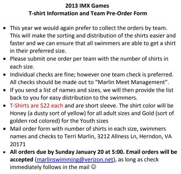 IMX games T-Shirt order form