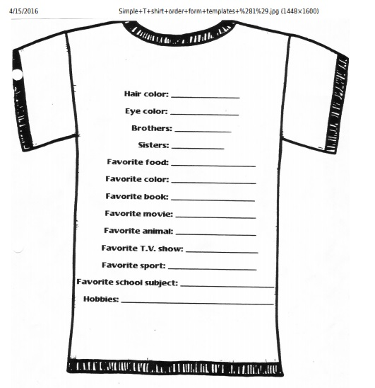 T-shirt design order form template