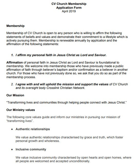 application for church membership template
