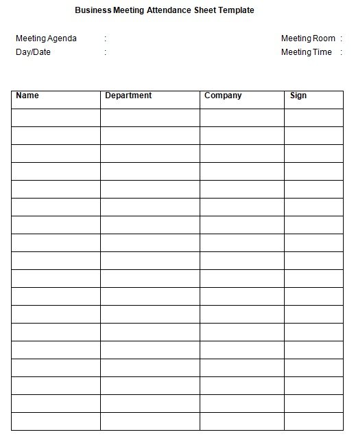 business meeting attendance sheet template