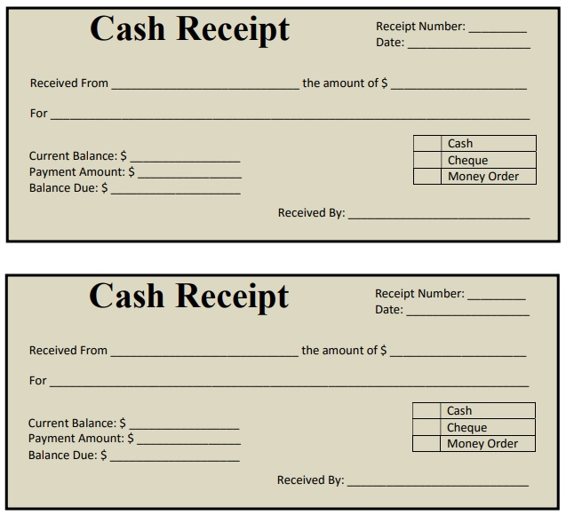 cash payment receipt sample