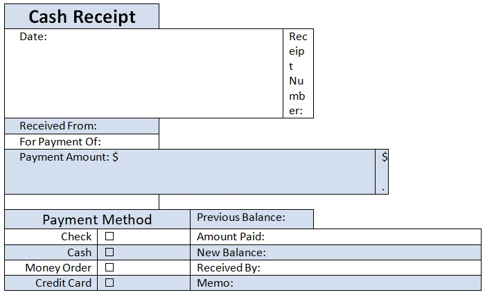 cash payment receipt template word