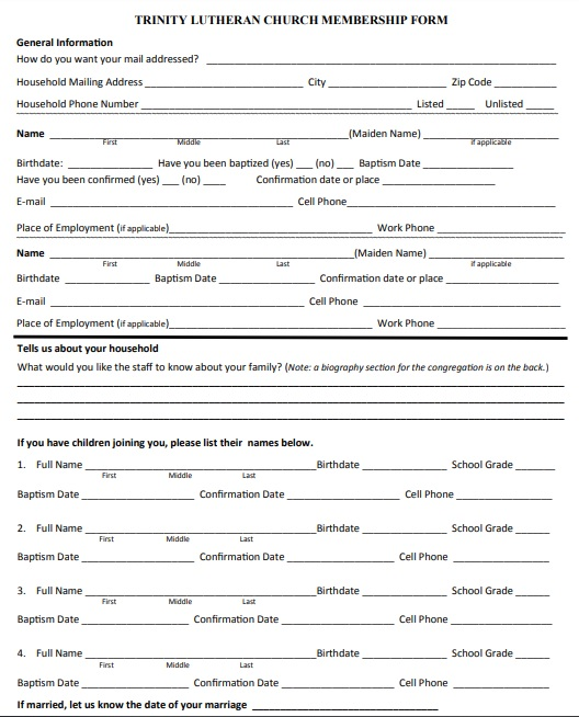 catholic church membership form