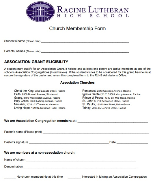 church membership application form