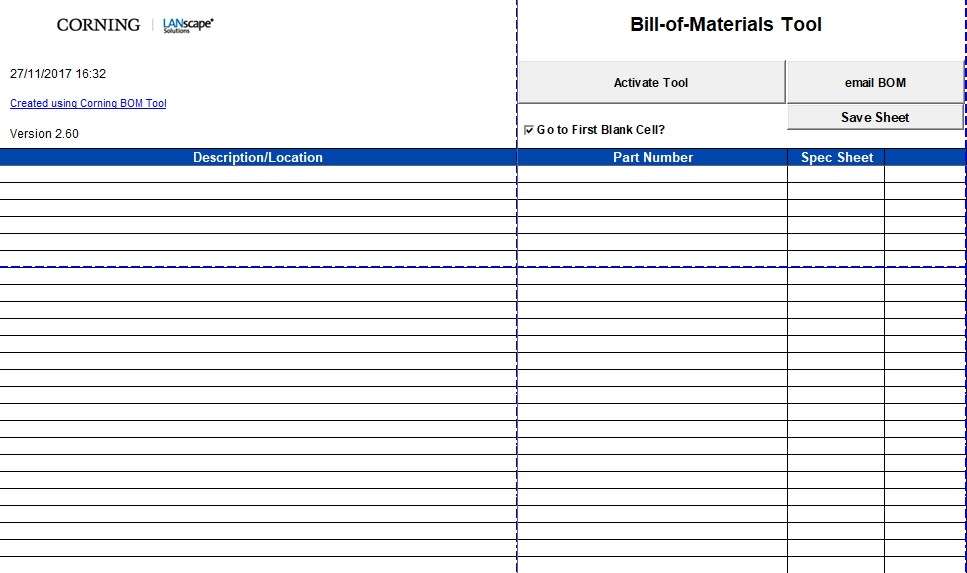 construction bill of materials template