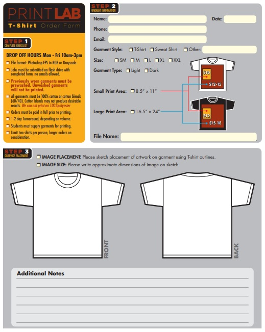 custom t-shirt order form