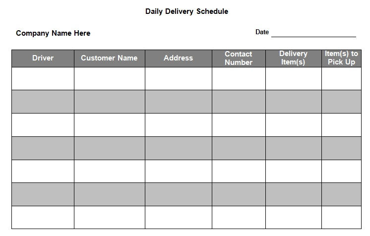 delivery schedule template free