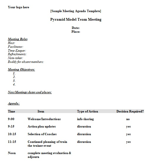 free printable meeting agenda form