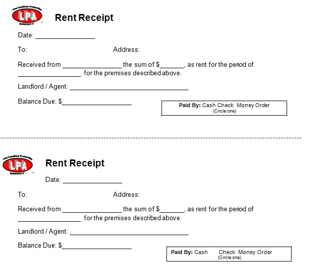 free printable rent receipts of payment