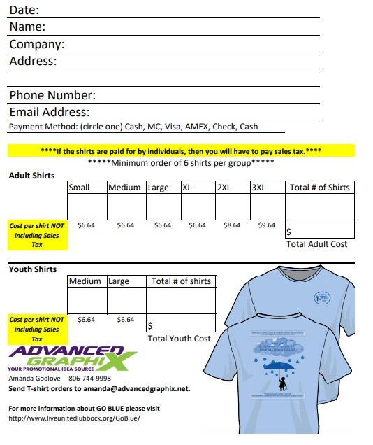 go blue campaign T-shirts order form