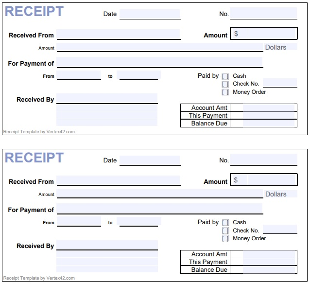 horizontal cash payment receipt form template