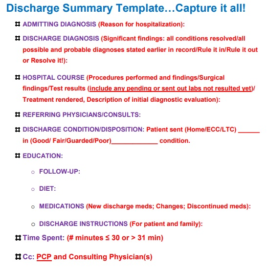hospital discharge papers template