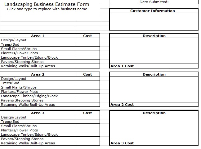 landscaping business estimate form