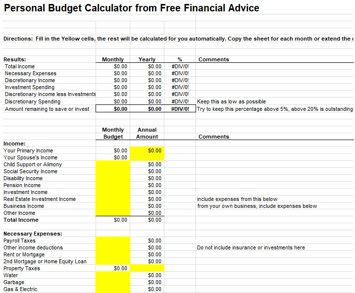 monthly budget worksheet calculator printable