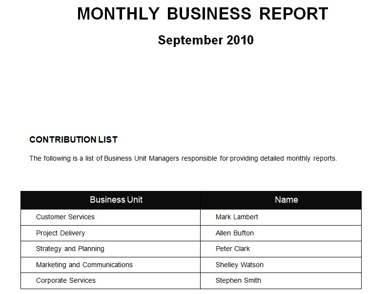 monthly business plan report sample