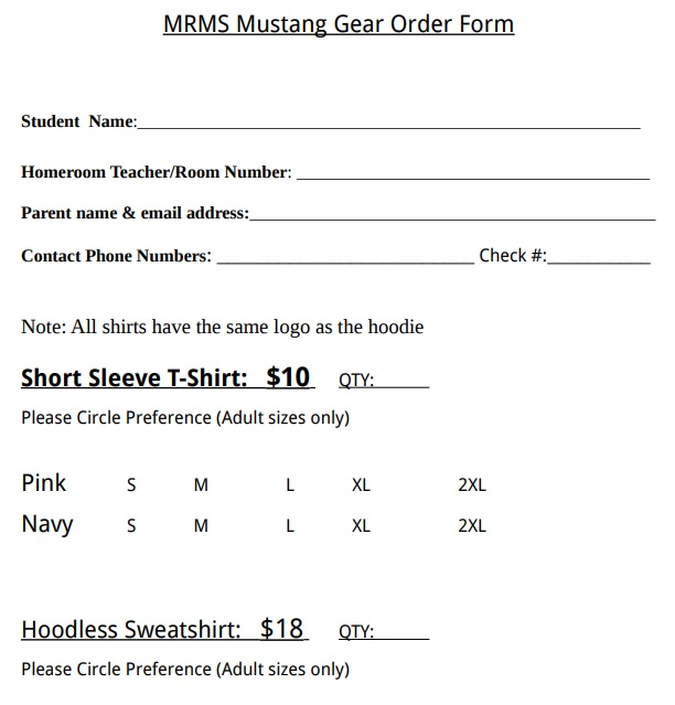 mustang gear T-Shirt order form template