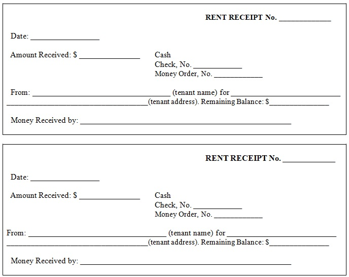 printable rent receipt word