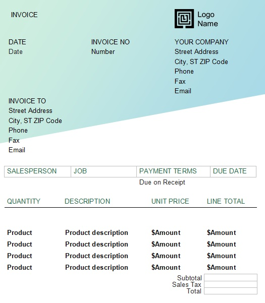 product service invoice template