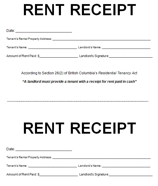 rent receipt format word