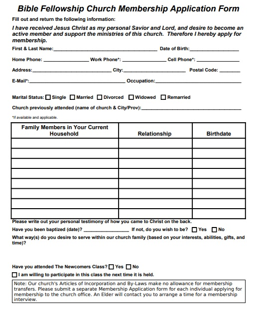 standard church membership application form