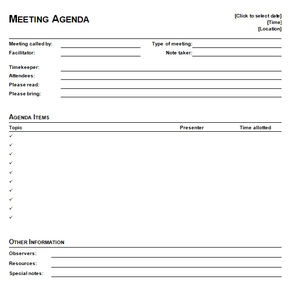 team meeting template word