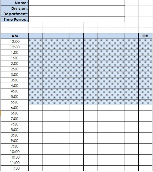 time and motion study template excel