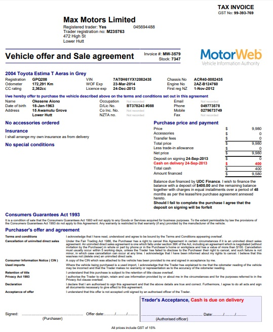 vehicle offer and sale agreement invoice template