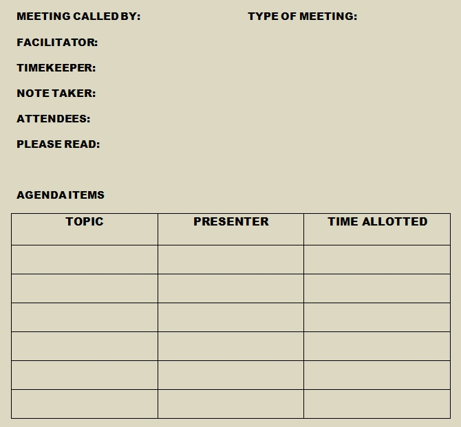 weekly team meeting agenda template