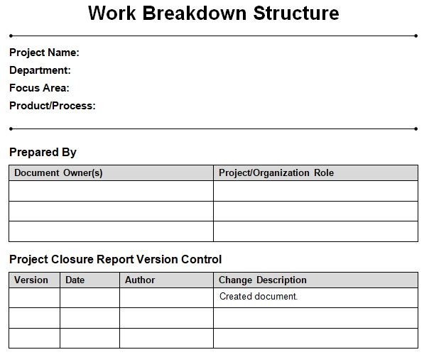 work breakdown schedule template