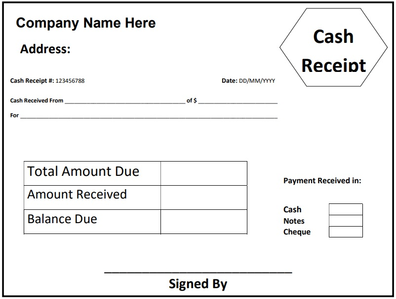 writing a receipt for cash payment