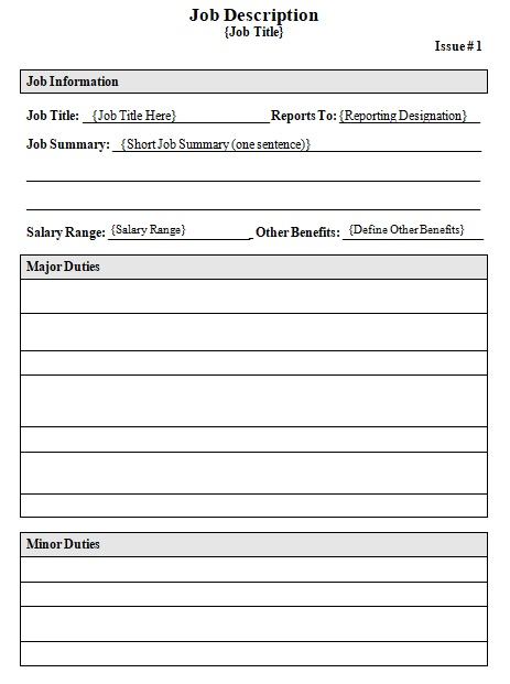 blank job description template printable