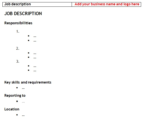 job description template for existing employees