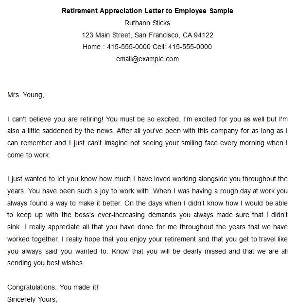 retirement appreciation letter to employee